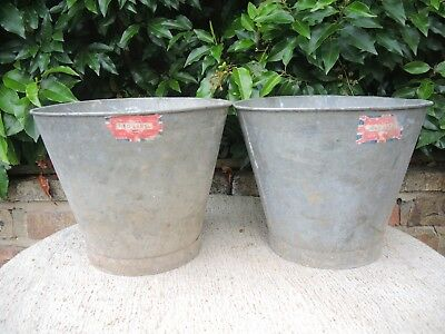 Two Genuine Vintage  Galvanised Flower Buckets Red Label Garden Planters (436c)