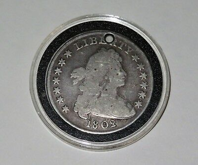1802/1 Draped Bust Silver Dollar Wide Date (Holed)