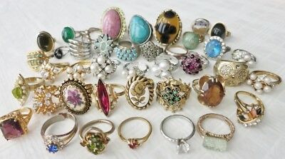 Large Vintage Costume Jewelry Ring Lot Of 40 pcs Rhinestones Faux pearls