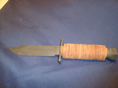 Vintage  Camillus  Fixed Blade Knife Leather Wrapped Handle