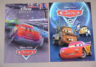 Disney Movie Club 3D Lenticular Cards Lot Cars 1 & 2 II collector's