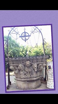 Old 1920's Concrete Water Well Theatrical Figures With Iron Detail