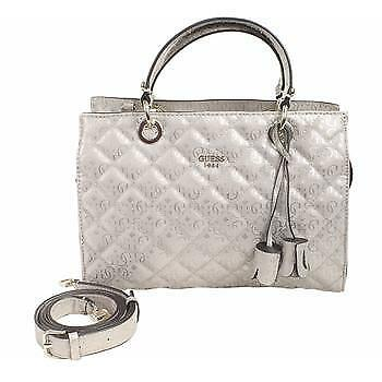 Guess Women s Seraphina Quilted Pink Gloss Satchel Handbag ea51054899940