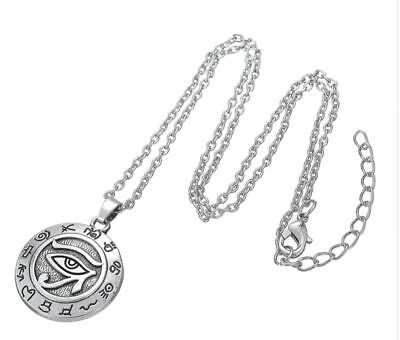 Antique Silver Plated Eye Of Horus Pendant Egyptian Necklace 45 cm / 18 in