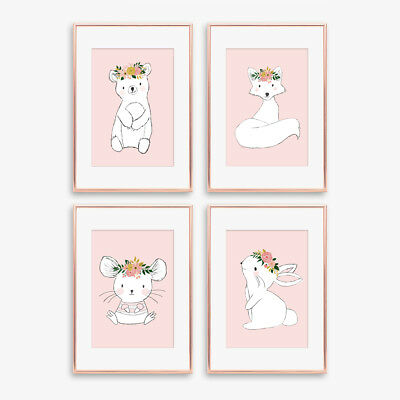 Woodland Animal Nursery Prints Childrens Bedroom Pictures Girls Decor Dusky Pink