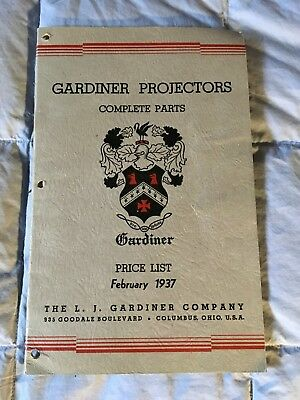 Vintage 1937 GARDINER Projector Parts manual RARE FIND!