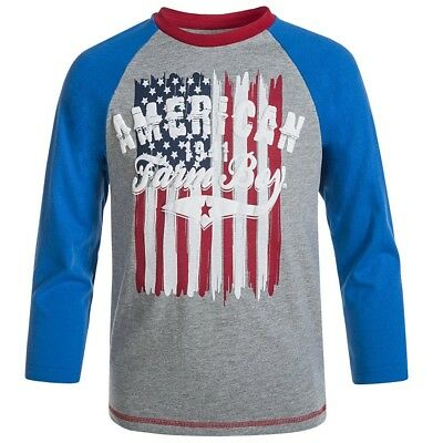 Farm Boy Brand American Flag Long Sleeve T-Shirt Toddler 18M Brand New With Tags