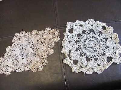 Pair Exquisite Antique Hairpin Lace Doilies - Ornate Designs
