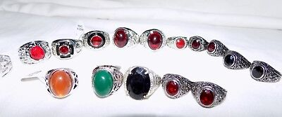 Lot 15 New  Metal Silver Jeweled Stones Class School Signet Rings 4 5 6 7 8 9
