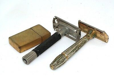 2pc Vintage Razors w Blade Case Gillette Gem Micromatic
