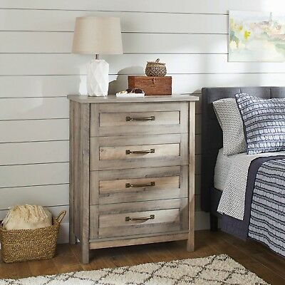 Dresser Chest Of 4 Drawers Bedroom Modern Farmhouse Vintage Rustic Gray Antique