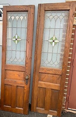 Pair of oak stained glass double doors