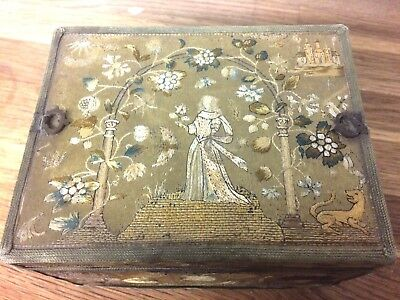 English Needlework Embroidered Casket Box 1650 Stumpwork Embroidery Tapestry