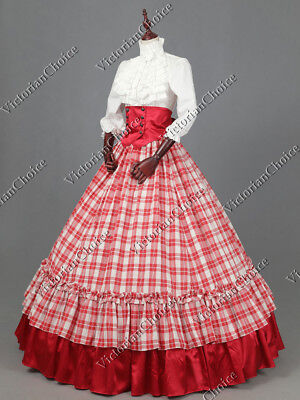 Victorian Dickens Plaid Southern Gown Dress Reenactment Theater Costume K001 XXL