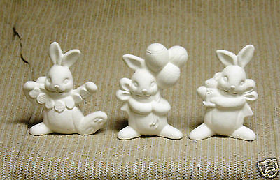 Ceramic Bisque 3 Easter Bunnies Clay Magic Mold 1718 U-Paint Ready To Paint