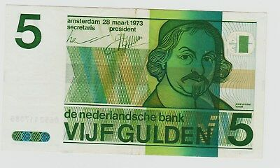 1973 Netherlands 5 Gulden Note