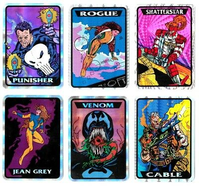1993 93 Marvel Masterpieces Vending Prism Sticker Complete Set (30)  VERY RARE