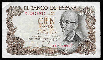World Paper Money - Spain 100 Pesetas 1970 P152 @ VF Cond.