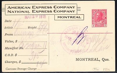 CANADA POSTAL STATIONERY POST CARD 'AMERICAN EXPRESS COMPANY', P33a