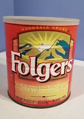 Vintage! Folgers Classic Roast Coffee Tin Can 39oz Metal WITH Lid