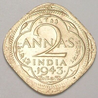 1943 India Indian 2 Annas WWII Era Square Coin VF Tone