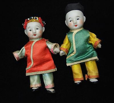 ANTIQUE CHINESE DOLLS Miniature Bisque Boy and Girl with Silk Costumes Adorable