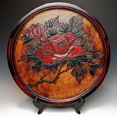 LARGE CARVED WOOD JAPANESE 16.5 INCH DISPLAY PLATE Hand Crafted Red Peony Signed