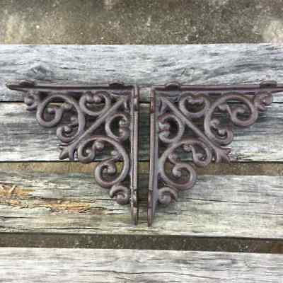 2-PCS Antique Style Cast Iron Brackets Garden Braces Rustic Shelf Bracket Brown