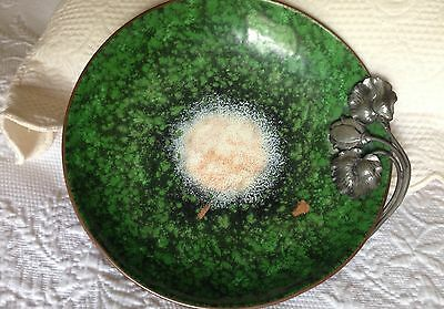 Antique Nekrassoff Green Enamel on Copper Bowl with Pewter Flower & Leaves