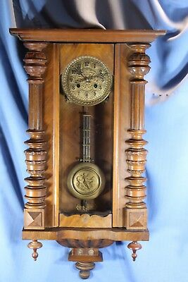 German Large Antique Wall Clock Rare Signed Beautiful And Runs Great!