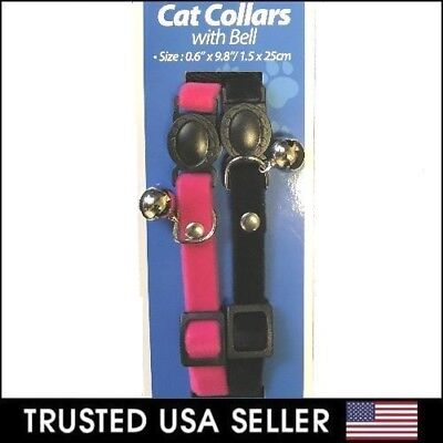 2pk - Adjustable Breakaway Cat Collar with Bell for Cat Kitten Black Pink