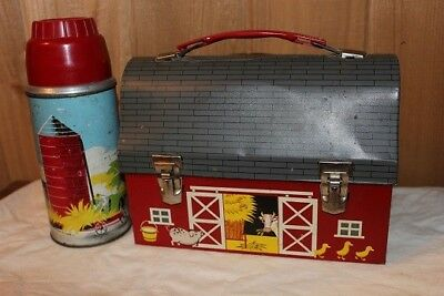Vintage 1957 Red Barn Lunch Box with Thermos