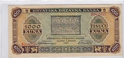 Kappyscoins  Id11525 1943 Ww2 Wwii Croatia 1000 Kuna Bank Note  Circulated