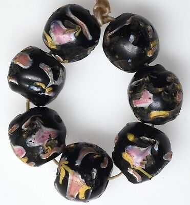 7 Old Venetian Glass Fancy Beads - African Trade Beads