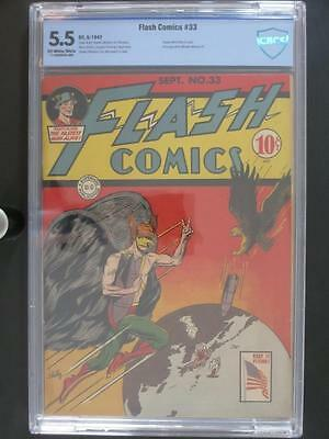 Flash Comics #33 - CBCS 5.5 FN- DC 1942 -Hawkman- Classic WWII cover!!!