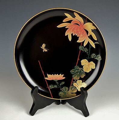 BEAUTIFUL JAPANESE LACQUER DISH Flower Butterfly Antique Taisho Showa Plate