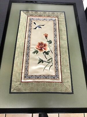 Asian Silk Art Emroidered Framed 21x14 Korean Chinese Textile