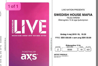 Swedish House Mafia Ticket- Stockholm Sweden- Saturday 4th May 2019