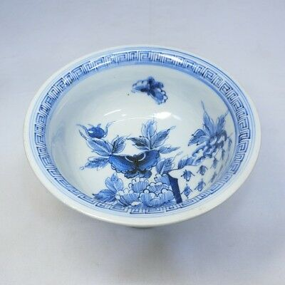 B597: Japanese tall bowl HAISEN of old IMARI porcelain with butterfly painting.