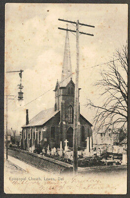 1906 Undivided Back B&W of The Episcopal Church in Lewes DE