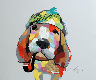Basset Hound Dog Watch Cap Pipe Modern Pop Art Stretched 20X24 Oil Painting