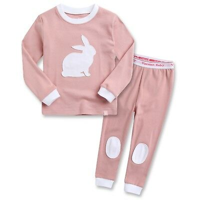 "Vaenait Baby Clothes Toddler Girls Sleepwear set ""Bono Rabbit Pink"" XL(6-7T)"