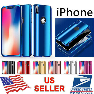 360° Full Body Plating Mirror Slim Case Cover For iPhone XS Max XR 8 7 6s Plus