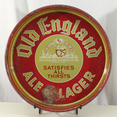Old England Ale & Lager Beer Tray Derby, Connecticut Conn Ct Jousting Knight Old