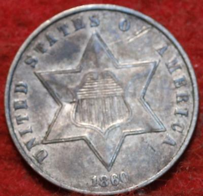 1860 Philadelphia Mint Silver Three Cent Coin