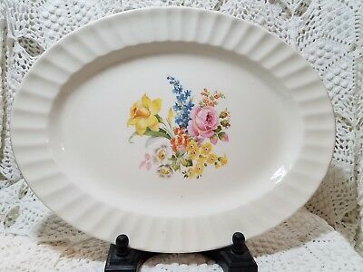 Vintage White Oval Platter with Floral Print Edwin Knowles