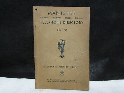 1947 vintage Manistee MI TELEPHONE DIRECTORY phone book Michigan Bell genealogy
