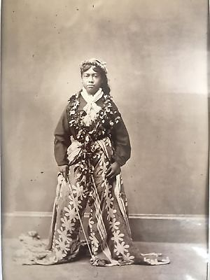 1880's Vintage Albumen Photograph Of A Honolulu Lady Hawaii