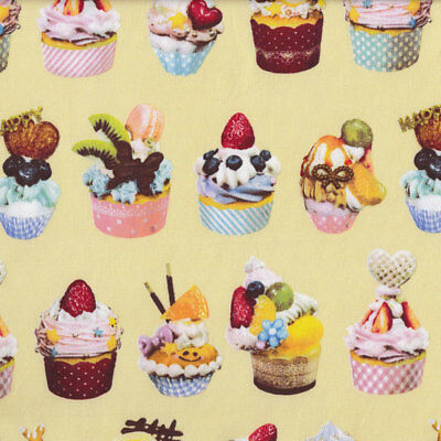 Delicious Cupcakes Strawberry Chocolate Kitchen on Yellow Fabric FQ or Metre *Ne
