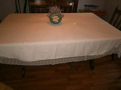 """LARGE (66 X 80"""") VINTAGE WHITE  LINEN OVAL TABLECLOTH  WITH Trim LACE"""